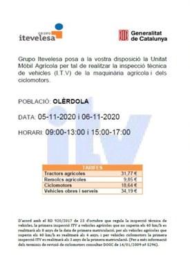 Inspecció Tècnica de Vehicles de maquinària agrícola i ciclomotors a Olèrdola els dies 5 i 6 de novembre