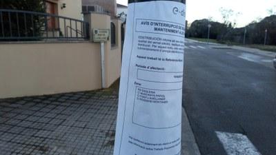 Interrupció del subministrament elèctric aquest dimecres en carrers de Moja i de Sant Miquel per treballs de manteniment i millora de les instal·lacions