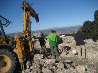 Ja han començat les obres de consolidació a la muralla romana d'Olèrdola