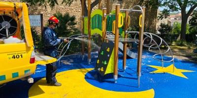 L'ADF d'Olèrdola realitza la desinfecció del mobiliari urbà i dels parcs de jocs infantils de tot el municipi