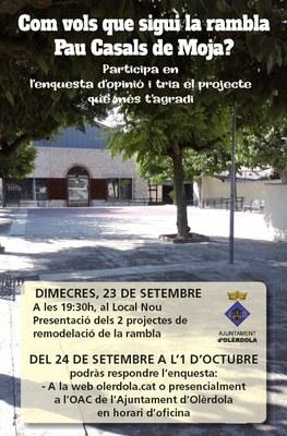 L'Ajuntament convoca una enquesta d'opinió per decidir la remodelació de la rambla Pau Casals de Moja