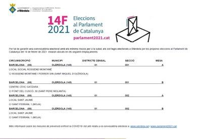 L'Ajuntament d'Olèrdola activa en la web municipal un apartat dedicat a informacions de les eleccions del 14F