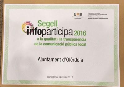 L'Ajuntament d'Olèrdola ha revalidat el segell Infoparticipa per la seva transparència