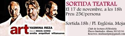 """L'Ajuntament d'Olèrdola promou una sortida a Barcelona per veure l'obra de teatre """"Art"""""""