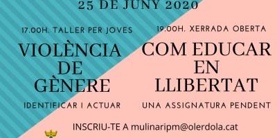 L'Ajuntament organitza per dijous 25 de juny un taller i una xerrada telemàtica per prevenir la violència de gènere