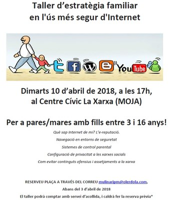 L'Ajuntament organitza un taller gratuït d'estratègia familiar en l'ús més segur d'Internet