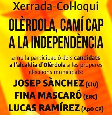 L'ANC organitza aquest divendres un col.loqui amb els tres caps de llista d'Olèrdola
