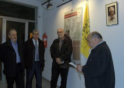 Lluís Montané, membre de l'AFM i de l'AVV de Sant Julià, intervenia en l'acte d'inauguració(foto:I.Blanca)