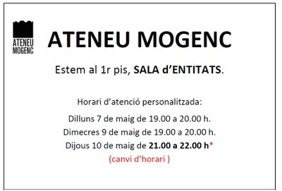 L'atenció personalitzada de l'Ateneu Mogenc serà aquest dijous de 21:00 a 22.00h