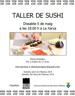"""L'Ateneu Mogenc """"Fem Poble"""" organitza per dissabte 5 de maig un taller per cuinar sushi"""