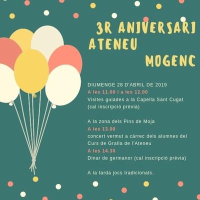 L'Ateneu Mogenc celebra aquest diumenge el seu 3r aniversari