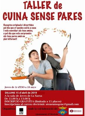 """L'Ateneu Mogenc organitza un taller gratuït de """"Cuina sense pares"""""""
