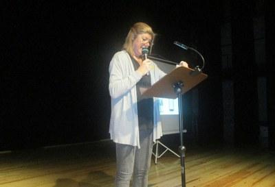 Irene Alemany, en un moment de la xerrada d'aquest dissabte al vespre