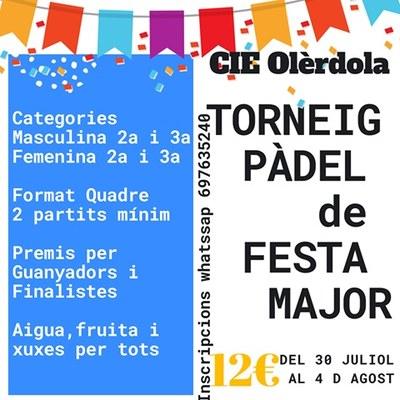L'inici del torneig de pàdel donarà dimarts el tret de sortida a la Festa Major de Daltmar