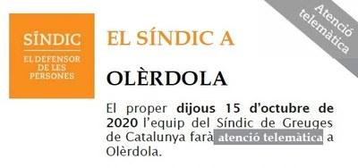L'Oficina del Síndic de Greuges farà dijous 15 d'octubre atenció telemàtica a Olèrdola