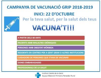 La campanya de vacunació contra la grip començarà el dilluns 22 d'octubre