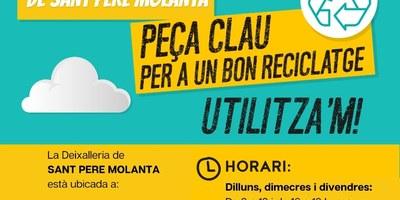 La deixalleria de Sant Pere Molanta amplia el seu horari a partir del 2 de novembre