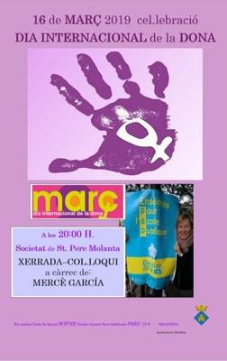 La mestra Mercè García pronunciarà dissabte 16 de març  la xerrada que commemorarà a Olèrdola el Dia Internacional de la Dona
