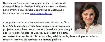 "La psicòloga i terapeuta Rosa Rabbani oferirà dijous a Moja la xerrada ""Donant forma al caràcter"""