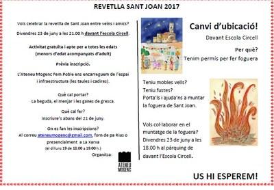 La revetlla de Sant Joan a Moja es farà davant l'escola Circell i inclourà foguera