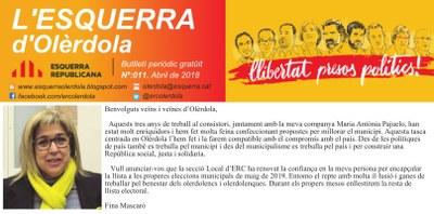 La secció local d'ERC escull Fina Mascaró com a candidata a l'alcaldia d'Olèrdola