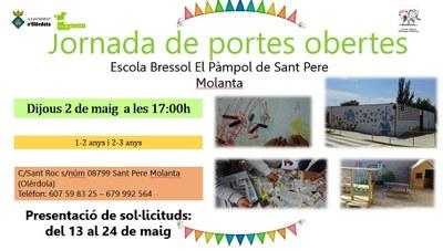 La setmana que ve s'han convocat jornades de portes obertes a les escoles bressol municipals d'Olèrdola