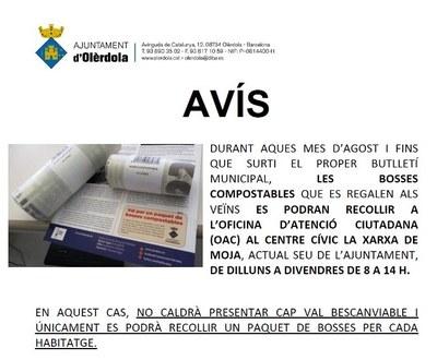 Les bosses compostables que es regalen als veïns d'Olèrdola es poden recollir a l'Ajuntament