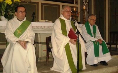 D'esquerra a dreta, els mossens Joan Salas, Jaume Berdoi i Jordi Bertran