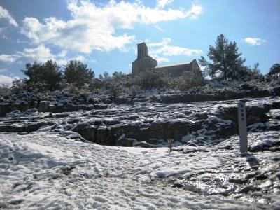 La neu va deixar dissabte imatges com aquesta a Olèrdola