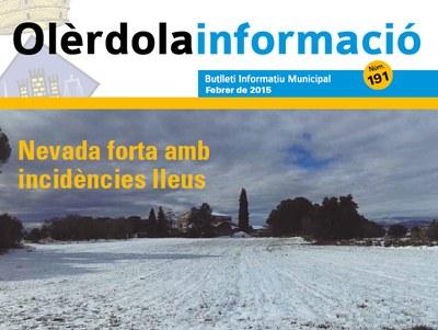 """Fragment de la portada del número 191 del butlletí """"Olèrdola Informació"""""""