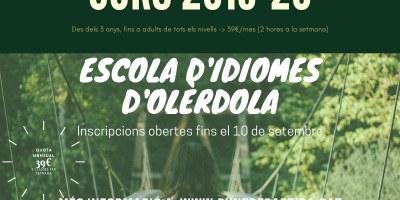 Obertes fins el 10 de setembre les inscripcions per al curs 2019-20 a l'Escola d'Idiomes d'Olèrdola