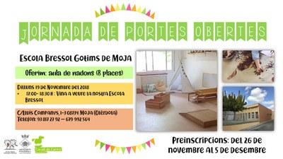 Preinscripció extraordinària per a l'aula de nadons de l'escola bressol Gotims de Moja