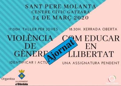 S'ajornen les activitats de prevenció de la violència de gènere i la funció de teatre que s'havien programat per aquest cap de setmana a Olèrdola