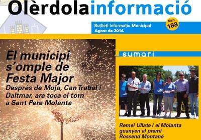 """S'edita el butlletí """"Olèrdola Informació"""" corresponent a aquest mes d'agost"""