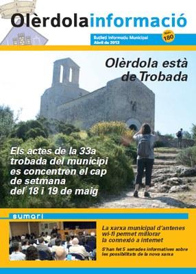 """S'edita el número 180 del butlletí municipal """"Olèrdola Informació"""", amb el programa de la Trobada"""