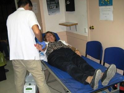 Imatge d'una donant de sang, aquest dimarts a Moja