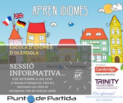 Sessió informativa de l'Escola d'Idiomes d'Olèrdola, dimarts 3 de setembre a les 12.00h