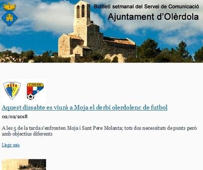 Subscriu-te al butlletí setmanal de notícies d'Olèrdola que elabora el Servei de Comunicació de l'Ajuntament