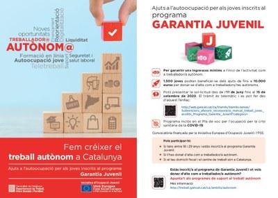 Subvencions per afavorir l'autoocupació de joves inscrits al Programa de Garantia Juvenil