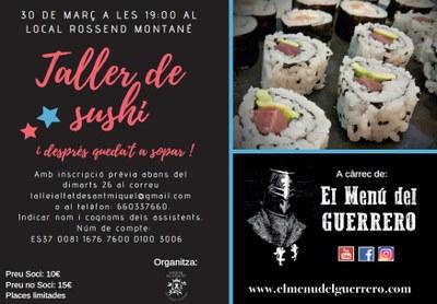 Taller de sushi a Sant Miquel d'Olèrdola el proper dissabte 30 de març