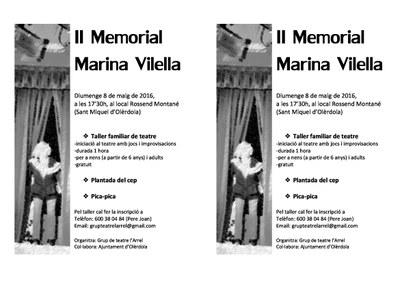 Taller familiar de teatre a Sant Miquel aquest diumenge en el II Memorial Marina Vilella