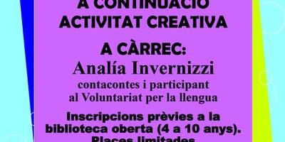 Titelles i taller creatiu al Servei de Biblioteca Oberta d'Olèrdola amb Analía Invernizzi