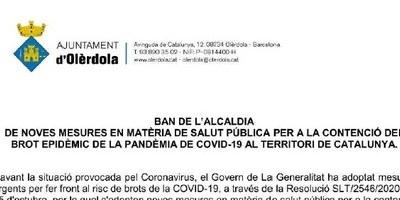 Un Ban d'Alcaldia recorda la suspensió d'activitats comunitàries als equipaments municipals decretada per la Generalitat