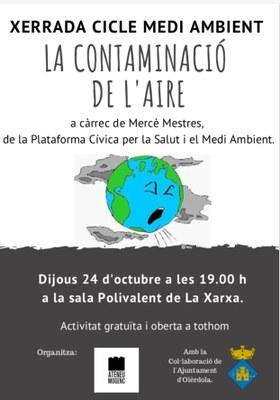 Una xerrada sobre la contaminació de l'aire dona continuïtat aquest dijous al cicle dedicat al Medi Ambient que organitza l'Ateneu Mogenc