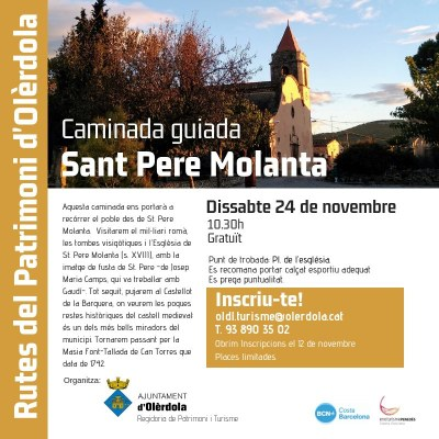 Visita guiada gratuïta aquest dissabte pel patrimoni de Sant Pere Molanta