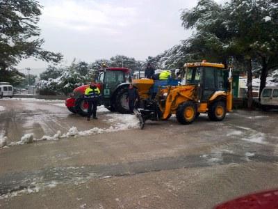 L'actuació dels serveis municipals ha estat clau per evitar incidències a Olèrdola per la nevada