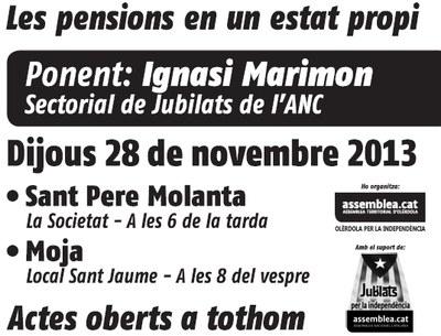 L'ANC convoca per dijous dues xerrades a Olèrdola sobre les pensions en un Estat propi